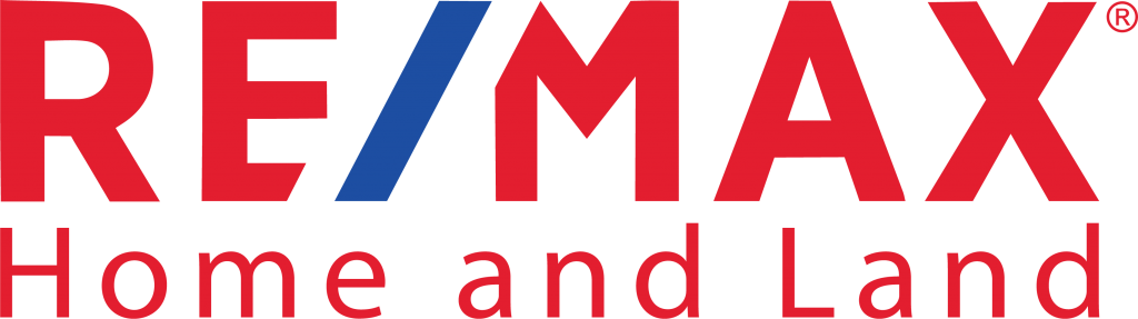 The logo for remax home and land