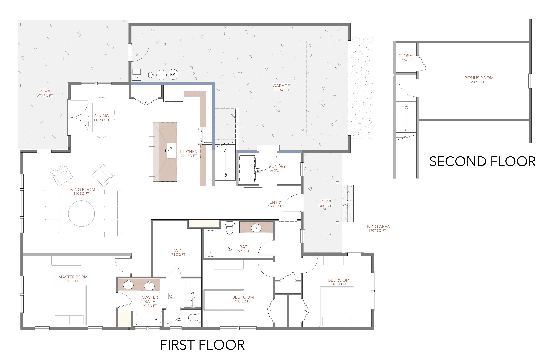 Floor plan of the applewood home